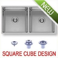 SQUARE Double bowl Undermount / Drop In Kitchen Sink Stainless Steel 865 mm