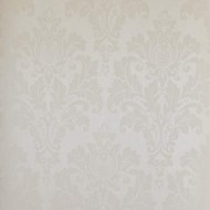 Elegant White on Gold Damask Wall Paper Roll