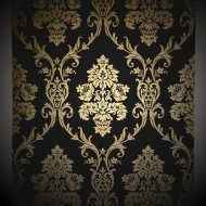 Gold on Black Damask Wallpaper Roll - top quality wall paper!